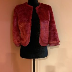 Bebe red fur jacket/blazer